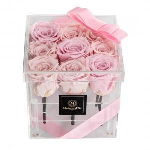 Cutie acrilica 9 trandafiri criogenati roz