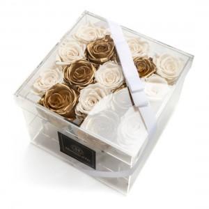 Cutie Acrilica cu 15 Trandafiri Criogenati