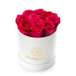 Cutie alba cu 9 trandafiri cyclam