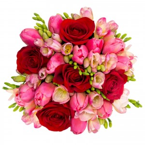 Cutie cu lalele si frezii roz