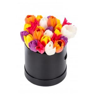 Cutie cu 27 de lalele multicolore