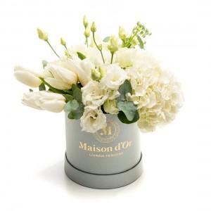 Cutie gri cu flori Gilda
