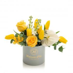 Cutie gri cu flori Olivia