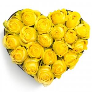 Cutie inima 21 trandafiri galbeni