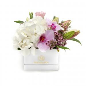Cutie orhidee roz si lisianthus roz