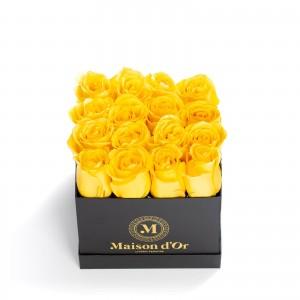 Cutie 25 trandafiri galbeni