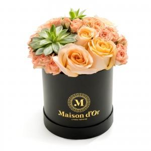 Cutie cu minirosa si trandafiri peach