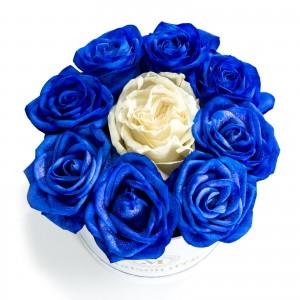 Cutie 9 trandafiri albastri si albi