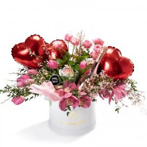 Cutie rotunda cu lalele, minirosa, Bottega Rose Gold Prosecco, 2 lumanari parfumate si 3 baloane inima