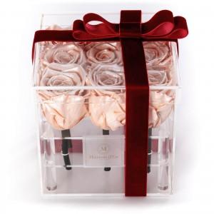 Cutie Acrilica 9 Trandafiri Criogenati Peach