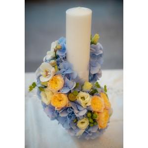 Lumanare botez hortensie blue trandafiri vuvuzela gold