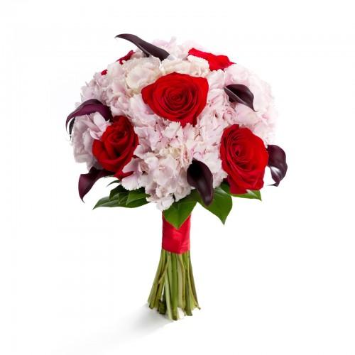Buchet de mireasa calla si trandafiri