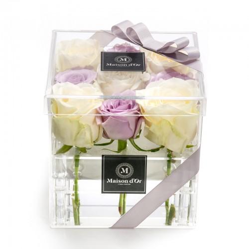 Cutie acrilica 9 trandafiri albi si mov