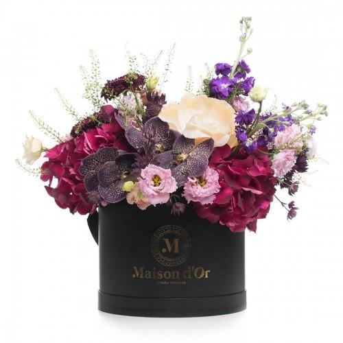 Colectia Desire - Cutie cu orhidee vanda si hortensie