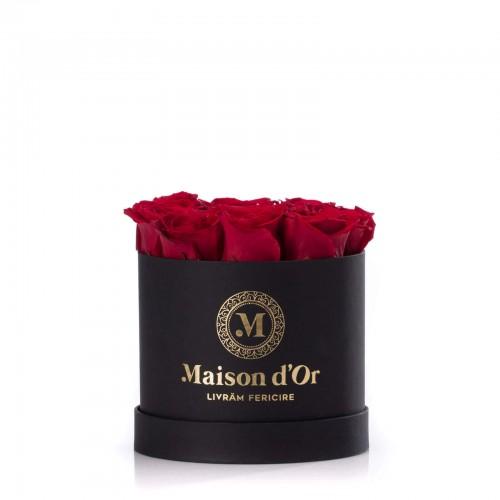 Cutie neagra 9 trandafiri rosii