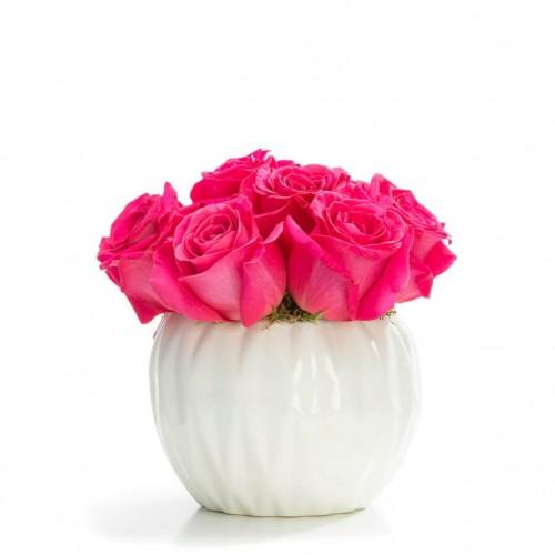 Aranjament floral business cu 9 trandafiri cyclam