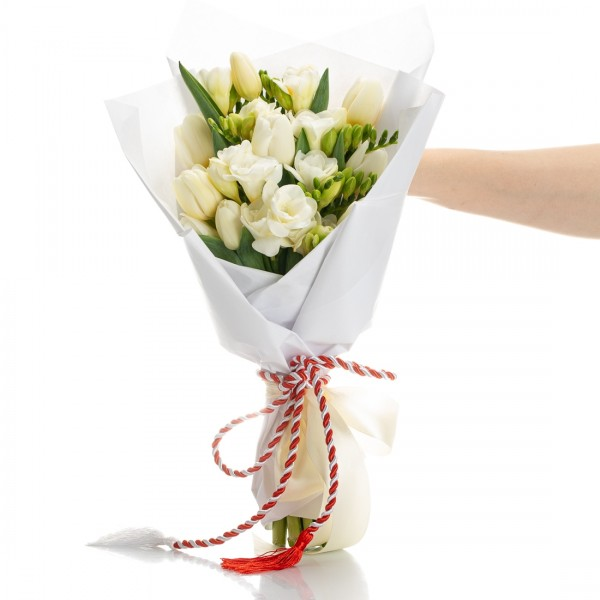 Bouquet with tulips and white martisor freesias