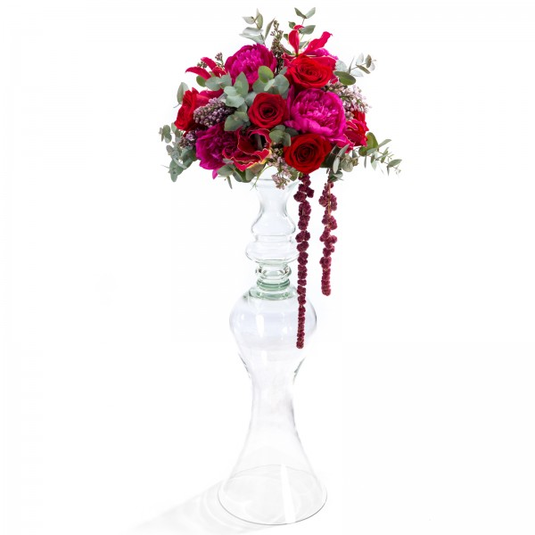 Wedding floral arrangement of peonies, roses
