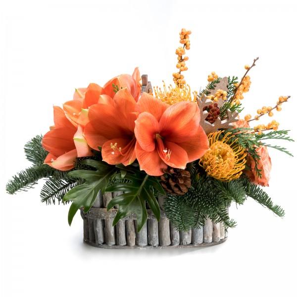 Amaryllis and Roses Christmas Arrangement
