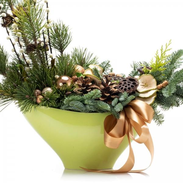 Christmas arrangement with fir and globes