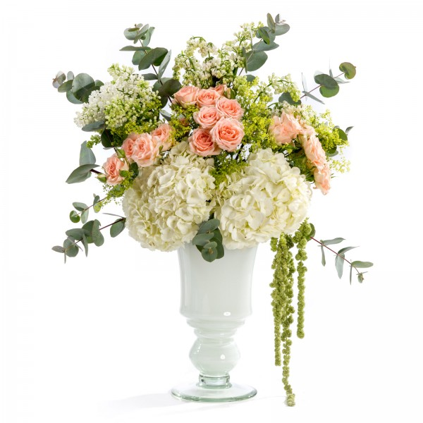 Hydrangea, mini rose, lilac wedding floral arrangement