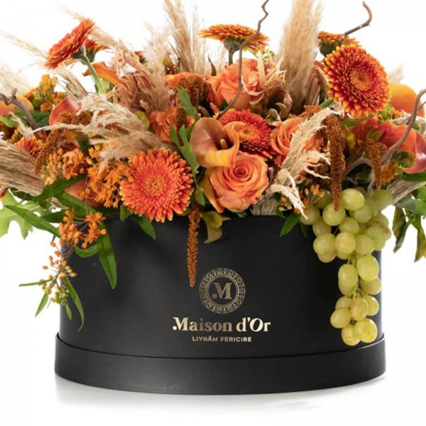 Giant box with roses and orange calla