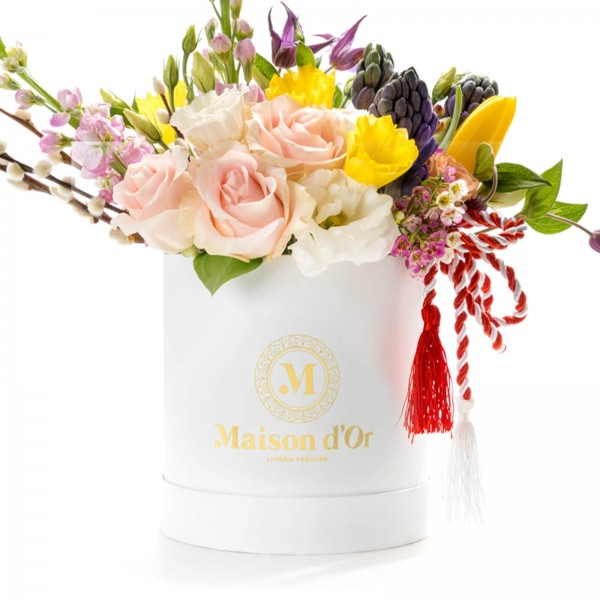 Round white box with tulips and martisor daffodils