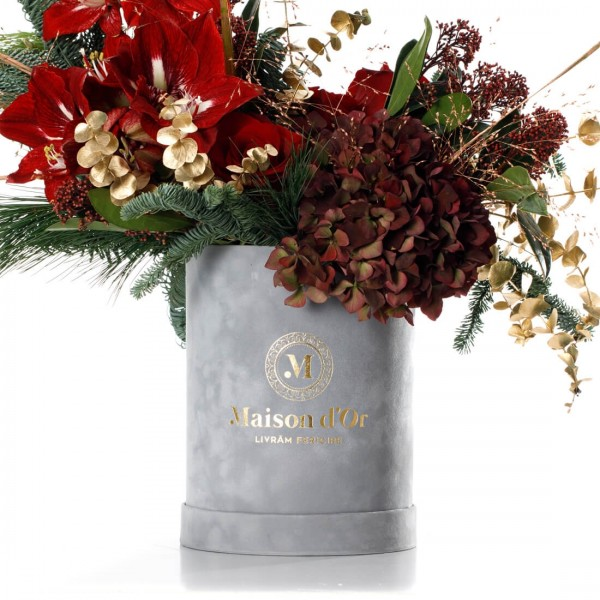Christmas floral arrangement with amaryllis,hydragea and roses