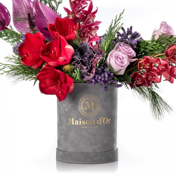 Box with anthurium, veronica and lilac roses - Christmas Collection