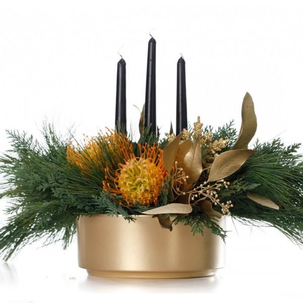 """Golden times"" Christmas floral arrangement"