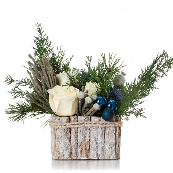 """White Christmas"" Christmas floral arrangement"