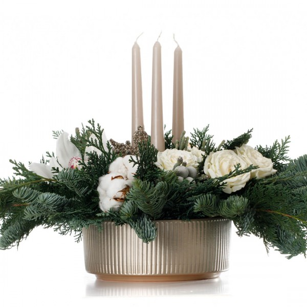 """Wintry wonder"" Christmas floral arrangement"