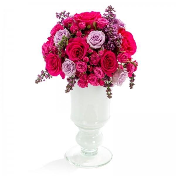 Wedding floral arrangement of roses, mini rose, lilac