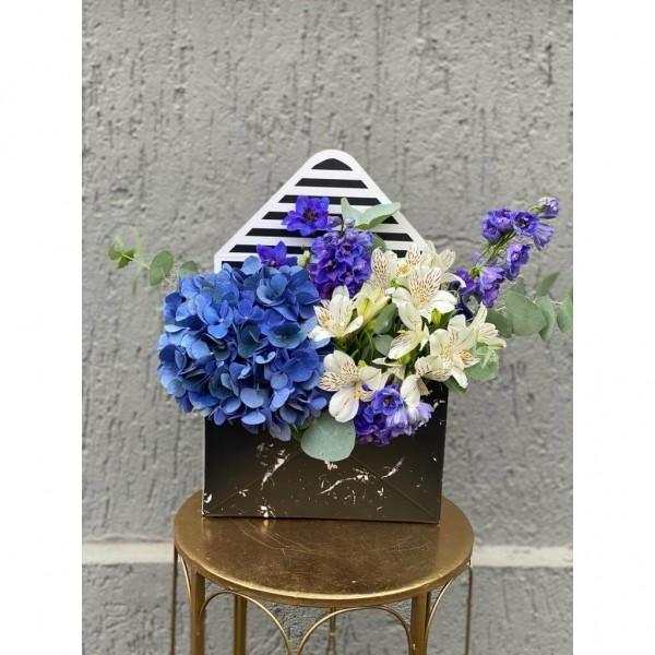 Floral Arrangement In Envelope Box With hydrangea, alstroemeria and delphinium
