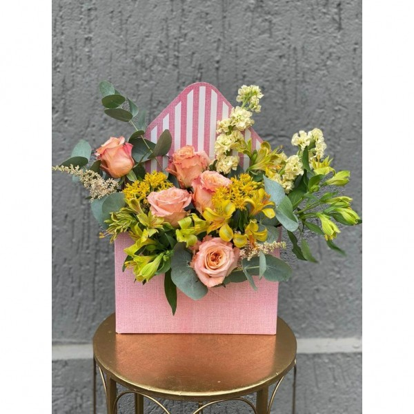 Floral Arrangement In Box Envelope With roses, alstroemeria and asclepias