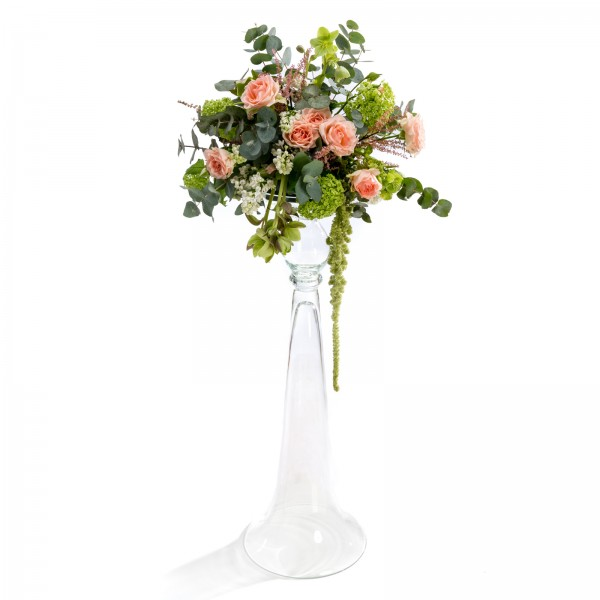 Floral wedding arrangement made of viburnum, mini rose