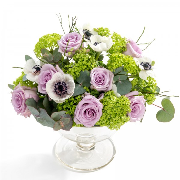 Wedding floral arrangement of scabiosa, roses