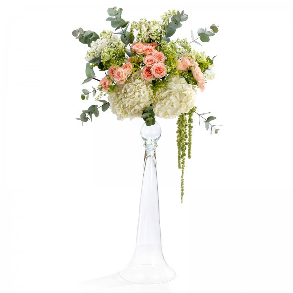 Hydrangea wedding floral arrangement, mini rose