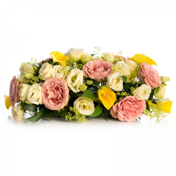 Floral arrangement garrison of roses and path