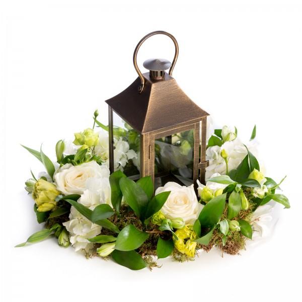 Wedding floral arrangement of freesias, roses