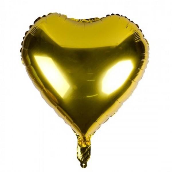 Balon Folie Inima Auriu Cu Heliu