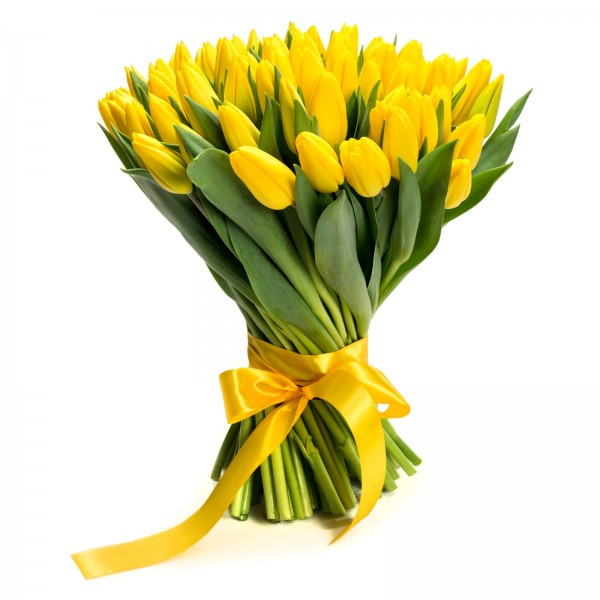 Bouquet of 99 yellow tulips