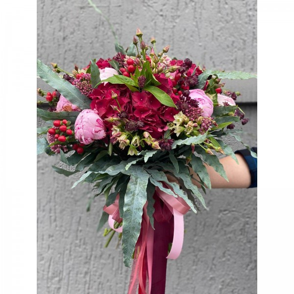 Bouquet Of Flowers With Peonies And Hydrangea Burgundy