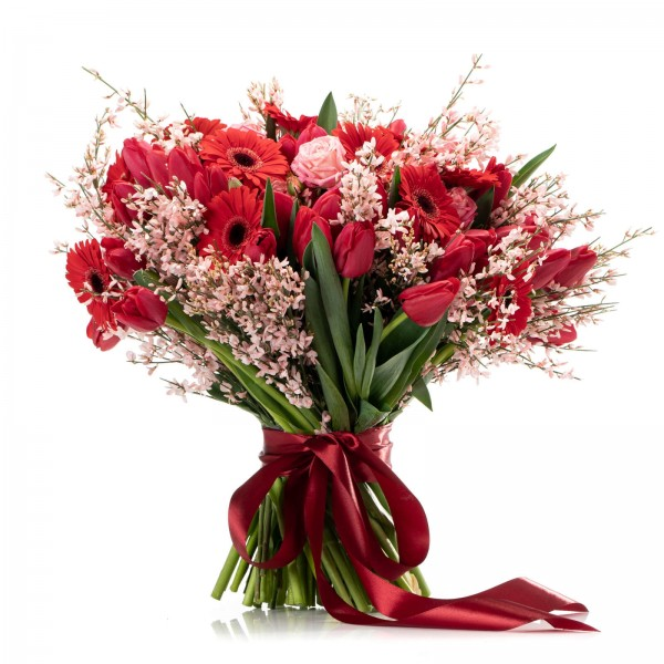 Bouquet with tulips, germs and roses