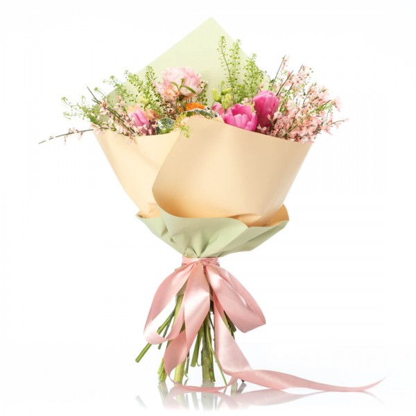 Bouquet With Tulips, Brassica, Roses And Minirosa