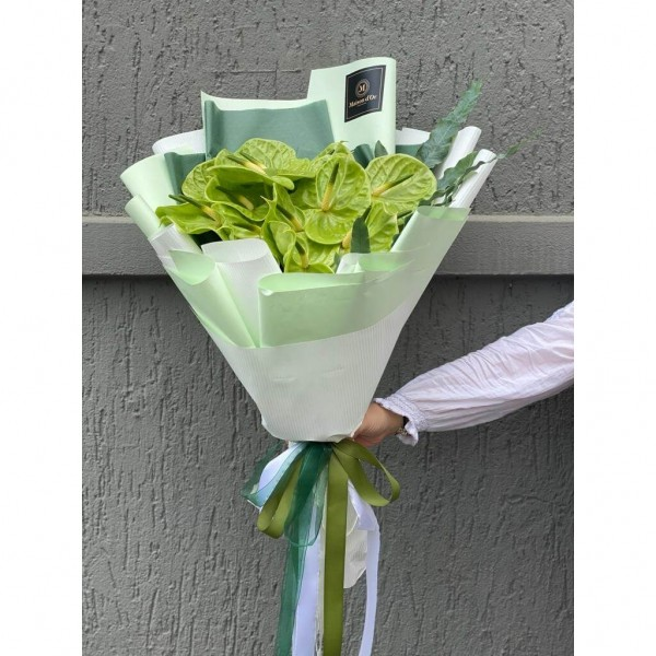 Bouquet Of Flowers With 15 Anthurium