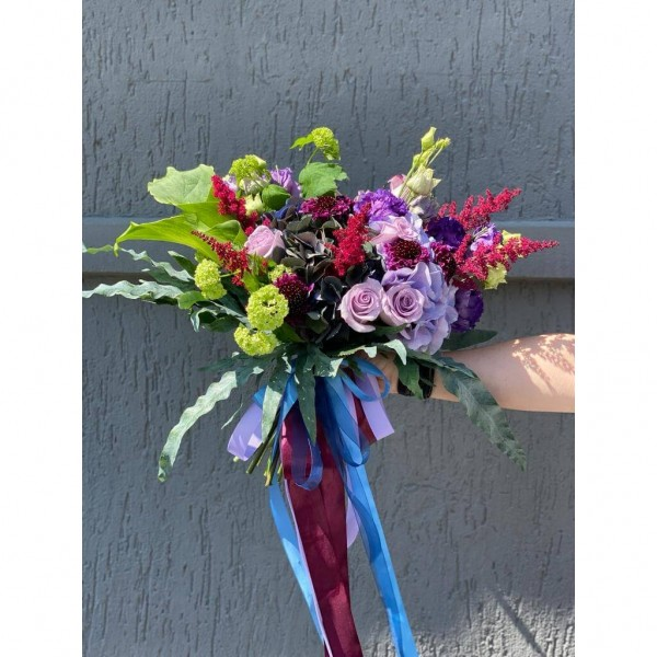 Bouquet Of Flowers With Hydrangea, Roses And Astilbe