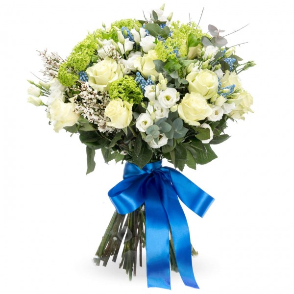 Bouquet of White Roses and Muscarii