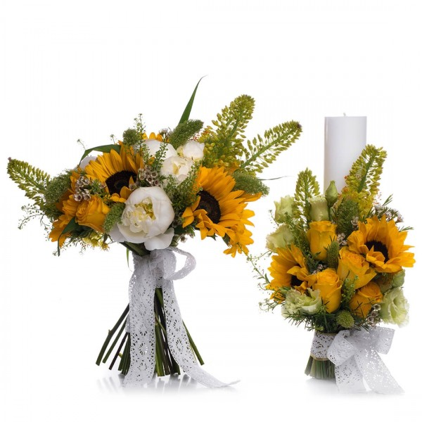 Wedding package peonies and sunflowers