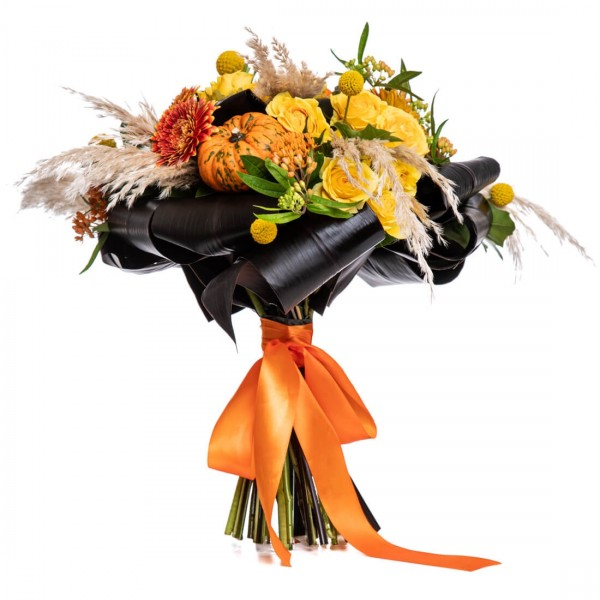 Autumn bouquet with minigerbera and craspedia